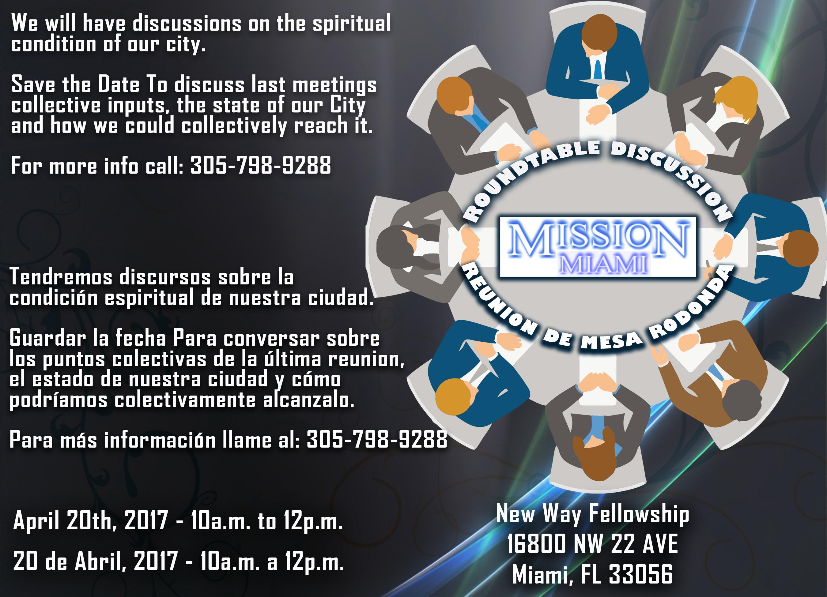 Round Table La Mesa.Round Table Discussion Mission Miami